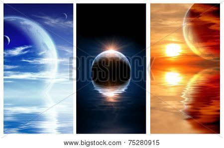 Collection of banners with landscape in fantasy planet