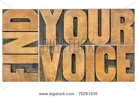 find your voice creativity concept - isolated word abstract in letterpress wood type