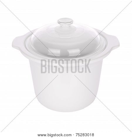 Ceramic steam pot with glass cover on white background.