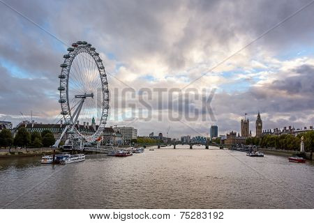River Thames, Westminster Palace And London Skyline In The Evening, United Kingdom