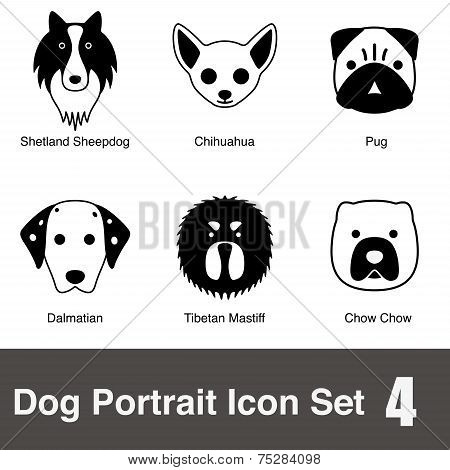 dog face character design set