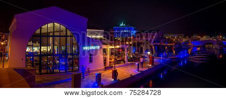 Limassol, Cyprus - 19 August 2014: Night Panorama Of A Newly Constructed Limassol Marina