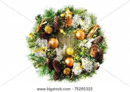 Bright Christmas Wreath On White Background