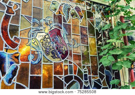Stained Glass Window With Grapevine