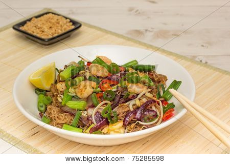 Pad Thai With Prawns, Served With Crushed Peanuts