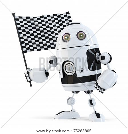 Robot Waving Chequered Flag.isolated. Contains Clipping Path