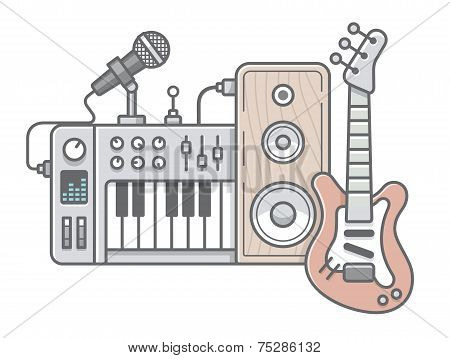 Music Tools In Wireframe Style: Guitar, Synthesizer, Microphone, Speaker