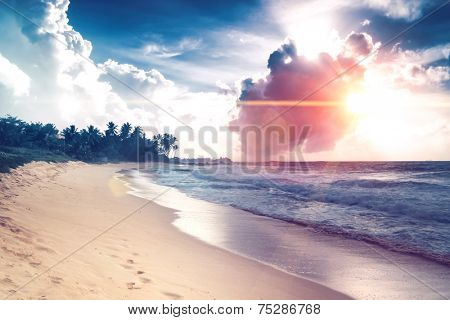 beautiful beach and tropical sea in Sri Lanka