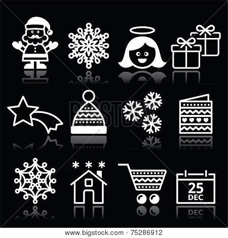 Christmas, Xmas celebrate white icons set on black
