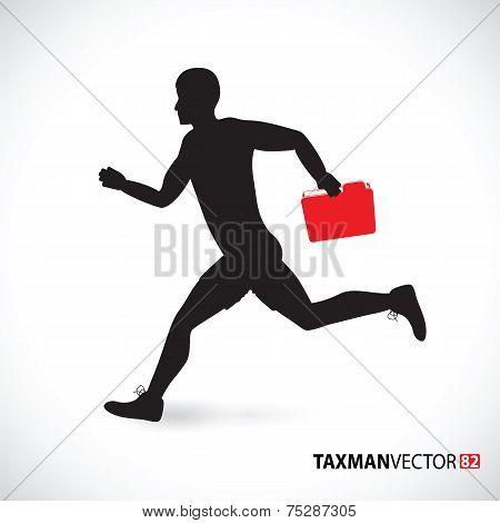 taxman running with a folder