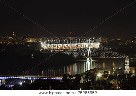 Warsaw National Stadium At Night
