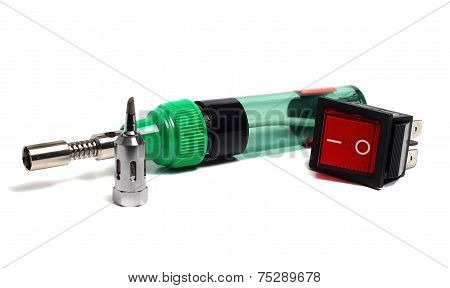 Compact Gas Soldering Iron And Switch On A White Background