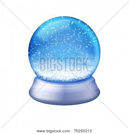 Realistic illustration of an empty snowglobe on white background with path