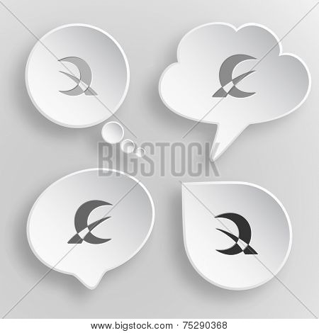 Abstract monetary sign. White flat raster buttons on gray background.