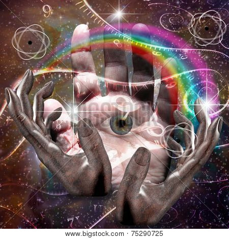 Hands manipulate atomic or other properties of universe Elements of this image furnished by NASA