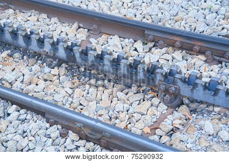 Rack Railway Railroad Tracks In Vall De Nuria, Spain
