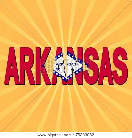 Arkansas flag text with sunburst illustration