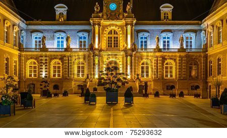 Beautiful night view of the Palace of Justice in Amiens, Paris, France.