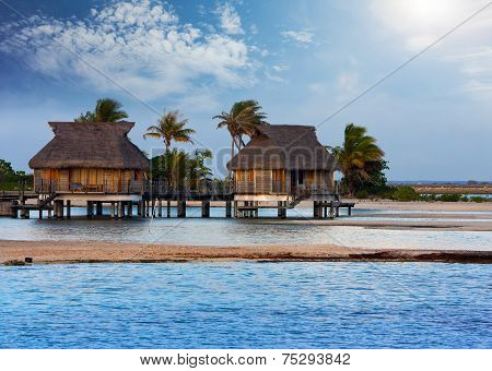 Typical Polynesian landscape -small houses on water
