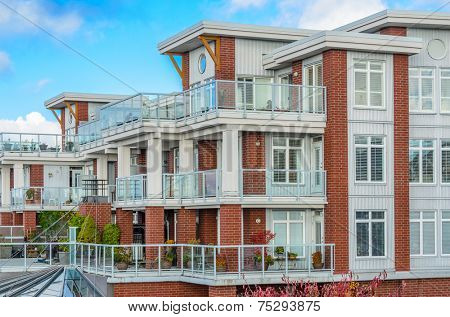 Apartment buildings in Vancouver, Canada. Residential architecture.