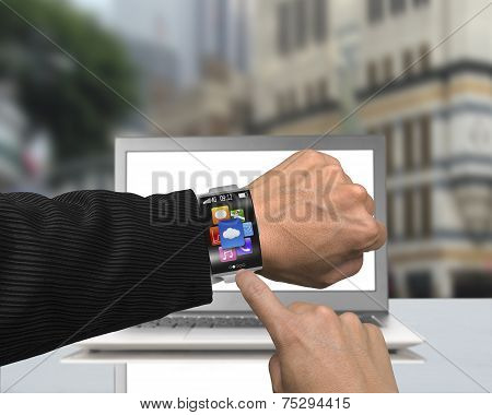 Businessman Finger Point App Icons Of Smartwatch With Bent Interface