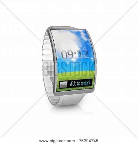 Ultra-thin Gray Bent Interface Smartwatch With Metal Watchband
