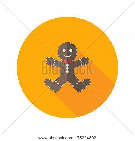 Christmas Gingerbread Man With Red Bow Flat Icon