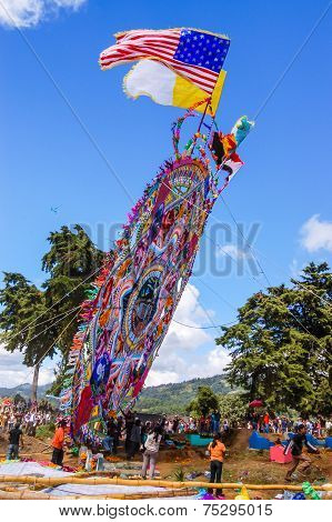 Raising Giant Kite With Flags, All Saints' Day, Guatemala