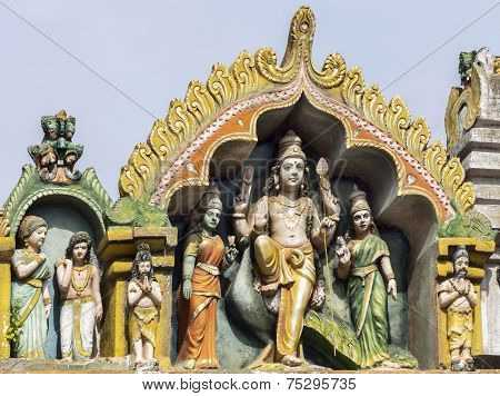 Lord Murugan And His Two Wives On Top Of His Shrine At Thiruvannamalai Temple.