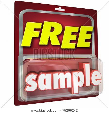 Free Sample product 3d word in a package given in a store as a trial or example to get you to buy more, using advertising and martketing