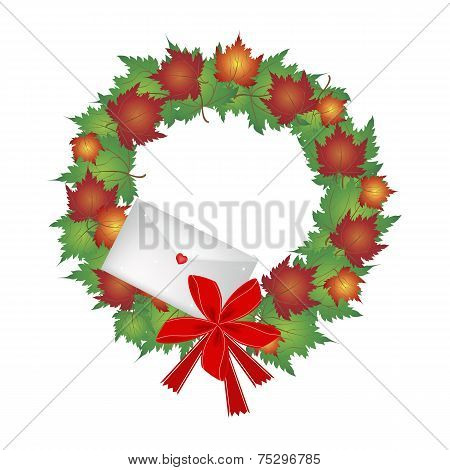 Christmas Wreath of Maple Leaves and Envelope