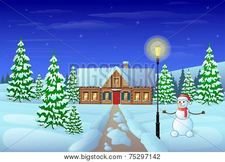 christmas eve holiday house winter snow gift card