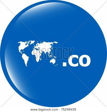 Domain Co Sign Icon. Top-level Internet Domain Symbol With World Map
