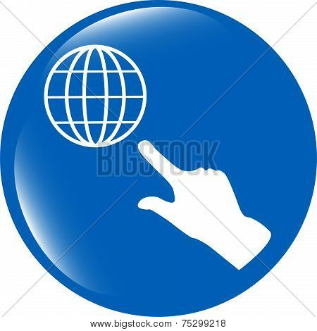 Internet Sign Icon With People Hand. World Wide Web Symbol. Circles Buttons