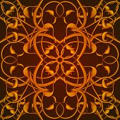stock photo of fantastic  - Bright Orange Fantastic Seamless Pattern with fantastic leaves in autumn colors - JPG