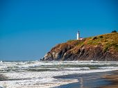 picture of coast guard  - North Head Lighthouse in Viewed from Benson Beach on the Washington Coast USA - JPG