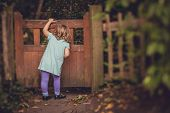 pic of peeking  - Young girl peeking through the hole in the small wooden gates in the garden