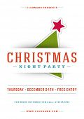 stock photo of xmas tree  - Christmas night party poster or flyer vector illustration - JPG