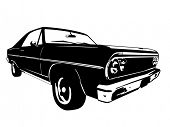 stock photo of muscle-car  - Vintage American Muscle Car Vector Silhouette - JPG