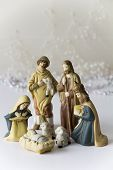 stock photo of nativity scene  - Nativity Scene with Baby Jesus - JPG