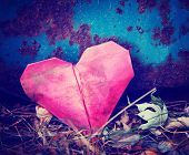 image of discard  -  a discarded paper heart on a rusty background with leaves toned with a retro vintage instagram filter effect  - JPG