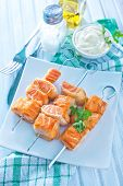 stock photo of kebab  - salmon kebab on the plate - JPG