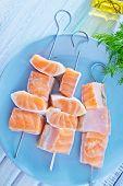 stock photo of kebab  - salmon kebab on the white platye - JPG