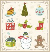 stock photo of cake-ball  - Vector illustration of Christmas icons  design set - JPG