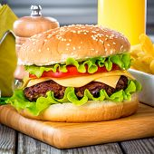 picture of hamburger-steak  - Tasty and appetizing hamburger cheeseburger - JPG