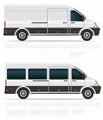 foto of motor-bus  - mini bus for the carriage of cargo and passengers vector illustration isolated on white background - JPG