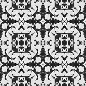 stock photo of lace-curtain  - White lace curtain abstract seamless pattern on a black background - JPG