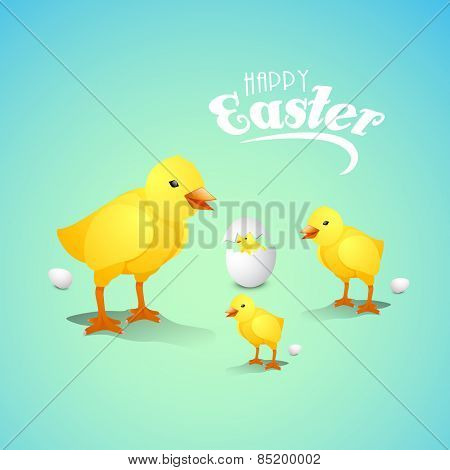 Happy Easter celebration greeting card with cute chicks and eggs on shiny sky blue background.