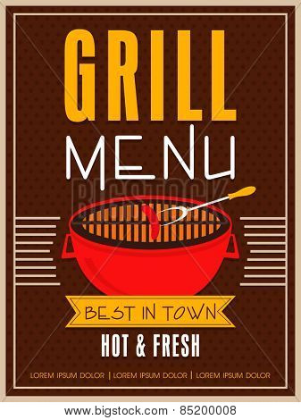 Vintage Grill Menu Card design for restaurant, can be used as template, poster or flyer design.