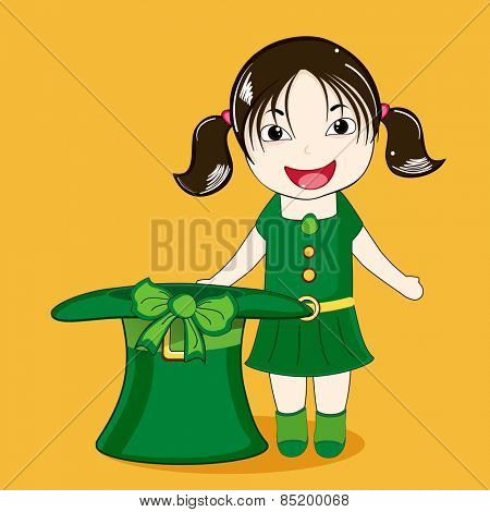 Cute leprechaun girl with hat enjoying on occasion of Happy St. Patrick's Day on yellow background.